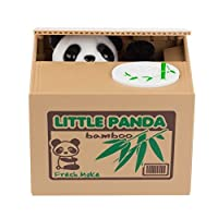 AmboxキュートStealing猫Coin Piggy Money BankホワイトLittle Panda