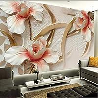 Lcymt カスタム写真壁紙3Dステレオエンボスユリの花の壁画の壁紙リビングルームテレビの背景3Dの壁紙-120X100Cm