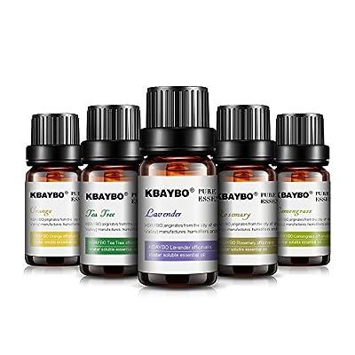 KBAYBO Essential Oil for Diffuser, Aromatherapy Oil Set, 6 Kinds Fragrance of Lavender, Tea Tree, Rosemary, Lemongrass, Orange,Peppermint