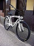 ビーチクルーザー 自転車 シマノ6段変速 極太フレーム 砲弾型ライト付 (WHITE)