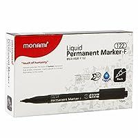 Monami液体PermanentマーカーF 122、ブラックインク、パック12個。