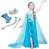 CREDIBLE 子供 用 プリンセス ドレス コスチューム 豪華6點セット ?アイスブルー ( プリンセスドレス , ハートのティアラ , 魔法のステッキ , 三つ編みウィッグ , 手袋 , CREDIBLEオリジナルグッズ ) 120cm NT332