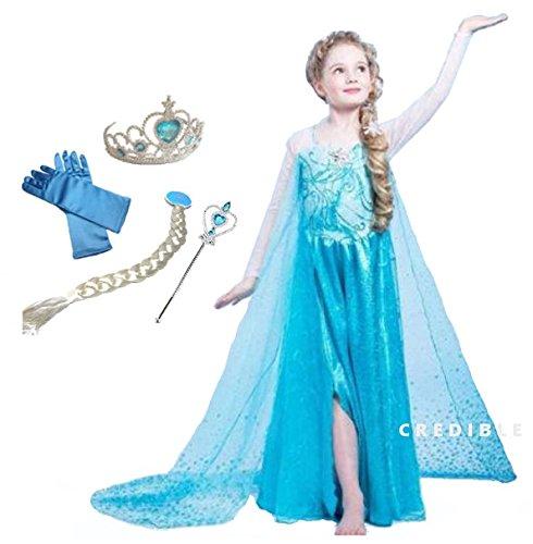 CREDIBLE アナと雪の女王 エルサ 風 子供用 コスチューム 豪華6点 セット ( プリンセスドレス , ハートのティアラ , 魔法のステッキ , 三つ編みウィッグ , 手袋 , CREDIBLERオリジナルグッズ ) 120cm TO332