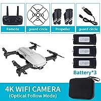 折りたたみ式2.4GHz WiFi FPVドローン4KカメラRCドローン航空機玩具3バッテリー(シルバー)
