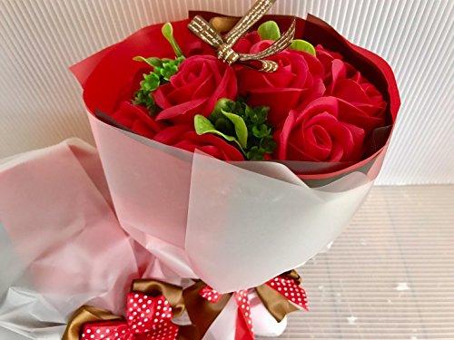 フレグランス シャボンフラワー ソープフラワー 薔薇 枯れない 花 ブーケ プレゼント 花束 母の日 父の日 出産祝い 結婚祝い お見舞い 誕生日 石鹸 香り ギフト お祝い ラッピング 包装 ギフトバック付き (レッドブーケ)