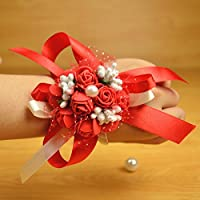 HuaQingPiJu-JP 結婚式のパーティーの花嫁の花嫁介添人の手首の花のコサージュの小道具(レースアップ赤)