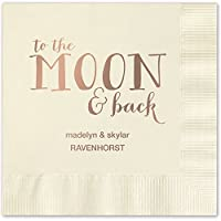 Moon and Back Personalized Luncheon Dinner Napkins–キャノピーStreet–100カスタム印刷Paper Napkins with Choiceの箔スタンプ AMZ5857ECSL