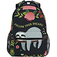 ZZKKO Funny Sloth on Tree Branches Follow Your Dreams Backpacks College School Book Bag Travel Hiking Camping Daypack