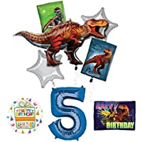 Mayflower製品Jurassic World恐竜5th BirthdayパーティーSuppliesとバルーンデコレーション