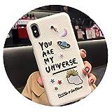 高級刺繍皮質惑星面白い携帯電話ケースのFor iphone 6 6 sプラス7 8プラスx 10 xr x s maxファッションカップル,White,For iphone XR