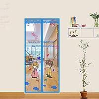 夏の防蚊ドアカーテン、ホームマジックペーストフル磁気ブロックポリエステル繊維装飾ドアカーテン,110*210CM