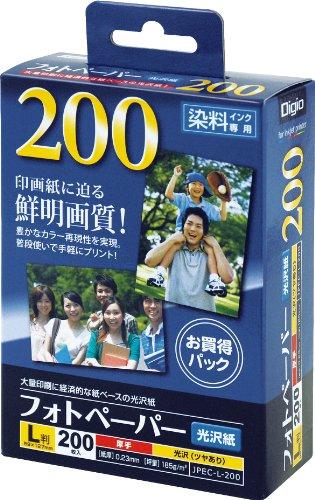 ナカバヤシ 写真用紙 フォトペーパー 光沢紙 L判 200枚 超厚手・強光沢 JPEC-L-200