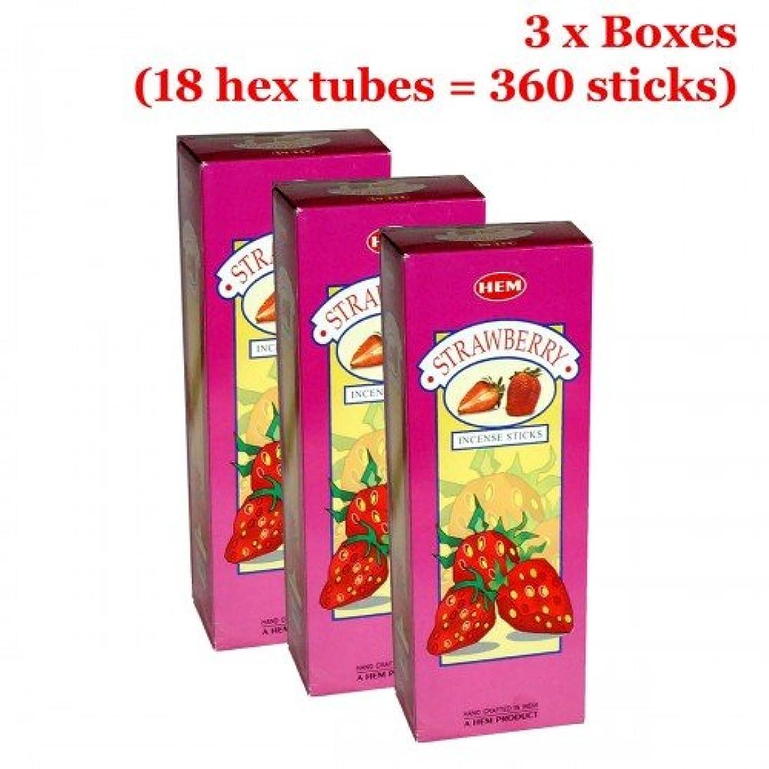 素子小康下に向けますHemストロベリー香、3ボックス – (360 Sticksバルクper order)