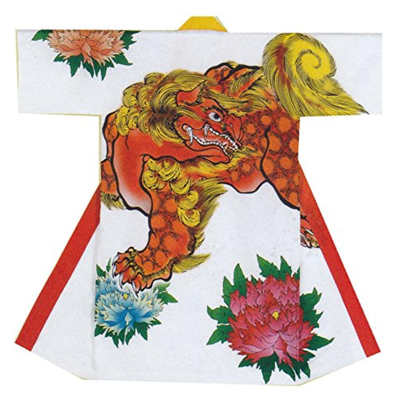【よさこい衣装?袢纏?法被】長袢天 白 唐獅子牡丹 B8597