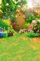 ケイト5x 7ft150x 220cm ) Natural Garden写真背景幕明るいピンク花と草原のフェンスBackgound for Studio Photo Props
