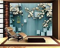 Wuyyii 3D手描きモクレンの鳥鳥のケージ写真の壁紙壁の3D立体空間のテレビの背景の壁紙3 D A-400X280Cm