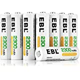 EBL 16-Pack AA Rechargeable Battery High Capacity 2300mAh Ni-MH Rechargeable AA Ni-MH Batteries (Battery Case Included)