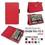 Fire HD 8 2015スタンドの自動スリープとウェイクケーススリム折りたたみ式のカバー for Amazon Kindle Fire HD 8 Inch 表示タブレット (2015 Release Only) (レッド)