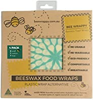 Beeswax Food Wraps 4 Pack By Bee Wrappy Washable And Reusable Alternative To Single Use Plastic Wrap/Saran Wrap. Reusable Sa