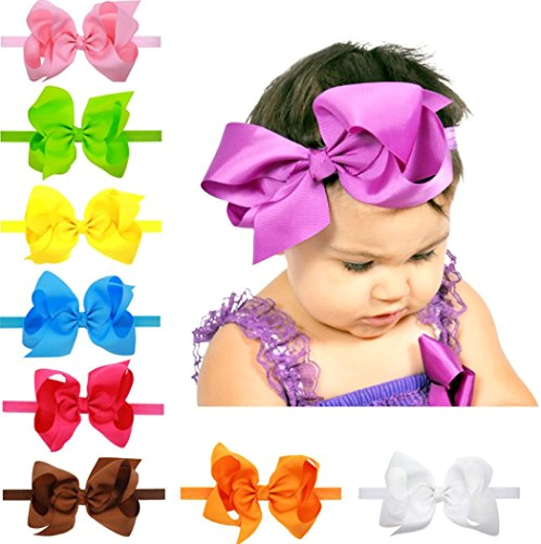幼児ベビー用ガールズリボン付きヘアヘッドバンドZerowin 15 cmの大きな弓を0 – 2 Age Girls ,セットof 9