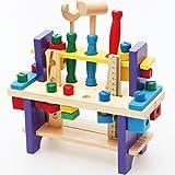 HappyHome 知育玩具 木のおもちゃ 木製 玩具 大工さんセット オリジナルクロス付 (カラータイプ)