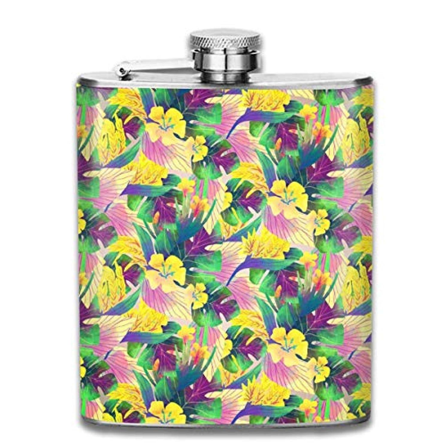 統計まさに移動美しい花フラスコ スキットル ヒップフラスコ 7オンス 206ml 高品質ステンレス製 ウイスキー アルコール 清酒 携帯 ボトル