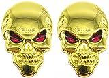 スカル エンブレム 3D 立体 ステッカー 骸骨 ドクロ 2個 セット 装飾 飾り カー アクセサリー ドレスアップ (ゴールド)