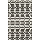 RUGGABLE Washable Indoor/Outdoor Stain Resistant Area Rug 2pc Set (Cover and Pad) Modern Fretwork Rich Grey & White (91 x 152cm)