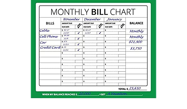amazon 16x12 monthly bill chart budget expense planner 並行