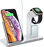 Qi ワイヤレス充電器 急速 4 in 1充電スタンド apple watch スタンド Airpods/Apple Watch充電器 iPhone X/XS/XR/XS Max/ 8/8 Plus Qi 7.5W急速充電対応 Galaxy S9/S9 Plus/Note8/S8/S8 Plus/S7/S7 Edge/S6 Edge Plus 10W対応 その他Qi対応機種も適用 … (白)