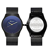 刻印入り腕時計 DAD Father 腕時計 パーソナライズギフト ミニマリスト 超薄型 メッシュステンレススチール