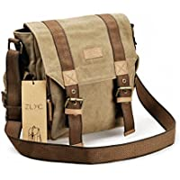 Canvas Messenger Bag ZLYC Vintange Shoulder Bag Military Crossbody Bag iPad Air Satchel Men Leather Trim Bookbag
