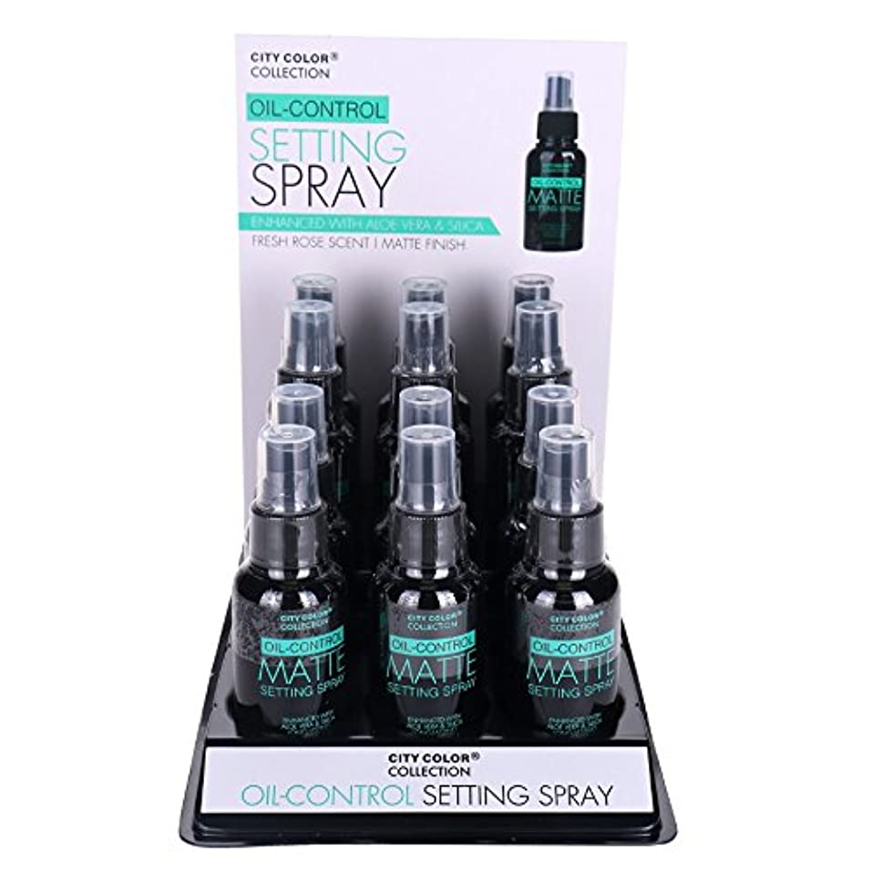 バウンス昆虫を見る合法CITY COLOR Oil-Control Matte Setting Spray Display Case 12 Pieces (並行輸入品)