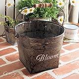ガーデン雑貨 バケツ L ブリキ缶 ブルーム アンティーク調 ガーデニング雑貨 フェンス 植木鉢
