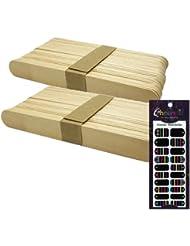 使い捨て【木ベラ/ウッドスパチュラ】(業務用50枚入り) × 2袋セット(計100枚) + チェスネイル(マルチボーダー)セット