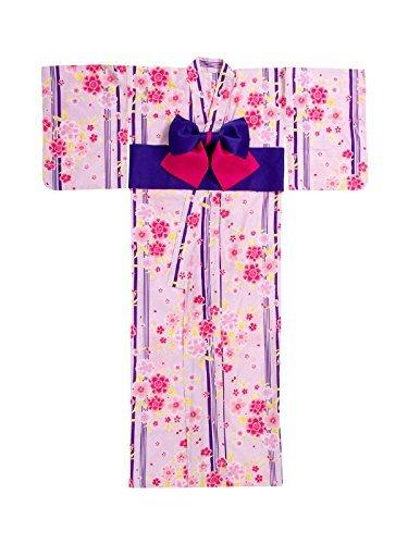[ニューリミー] Newlyme 桜 ストライプ 高級平織り浴衣 帯 2点セット F ラベンダー レディース