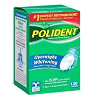 Polident Overnight Whitening, Antibacterial Denture Cleanser, Triple Mint Freshness 120 ea (Pack of 3) by Polident