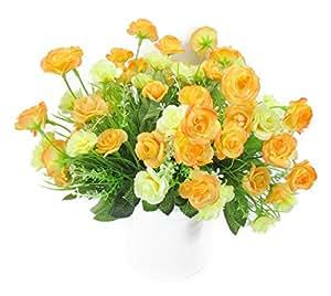 【ノーブランド品】 可憐な 白い フラワーポット入り かわいい ミニ バラ 造花 インテリアフラワー セット イエロー & オレンジ
