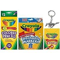 Crayolaクレヨン24 Countバンドル – 24クレヨン、8、12色鉛筆マーカー& 3d Mustang Horseキーチェーン