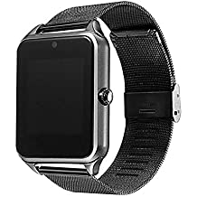 Bluetooth Smart Watch Z80 Stainless Steel Wrist Support SIM/TF Card Camera Fitness Tracker Smartwatch for iOS Android (Black)