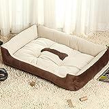 KJshop 犬 ベッド 洗える 猫 ベッド 犬用ベッド クッション (L, 褐色)