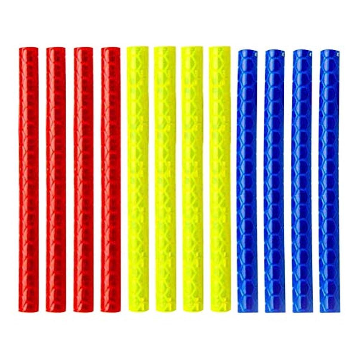推定鷲寄生虫LIOOBO 3ピース自転車スポーク反射ストリップ自転車装飾保護自転車ステッカーライトホイール自転車ステッカー-(赤、青、黄色)