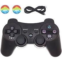 PS3 コントローラー ワイヤレス BRHE デュアルショック3 USB充電 六軸センサー ダブル振動対応 USBケーブル & 2xレバーキャップ付1年保証付き「ブラック」