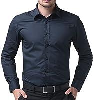 長袖シャツ メンズ 無地 折り襟 春 秋 形態安定 ビジネス カジュアル 紺色 S