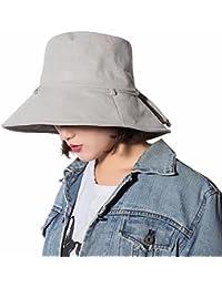 AMIGOYO UVカット帽子 綿麻 レディース つば広 折りたたみ バケットハット おしゃれ サイズ調節 小顔 紫外線 日よけ 帽子 春夏 自転車 アウトドア