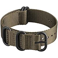 Fintie Watch Strap 18mm 20mm 22mm 24mm - Premium Nylon Replacement Sport Loop Wrist Band with Stainless Steel Buckle