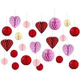 Easy Joy バレンタイン/ウェディング飾り付けセット ハート型 ハニカムボール 結婚式 記念日 パーティーデコレーション 写真背景