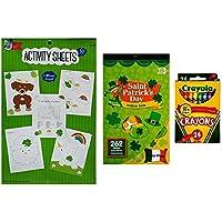 聖パトリックの日カラーリングandアクティビティキットfor Kids – 3 Piece Bundle – 1 30個パックシートカラーリングandアクティビティシート、ステッカーBook and 24クレヨン