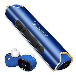 Bluetooth イヤホン スポーツ ワイヤレスイヤホン 片耳 両耳とも対応 高音質 カナル型 ワンボタン設計 軽量 防水 防滴 ヘッドセット マイク内蔵 通話可 iPhone Android 対応 (ブルー)