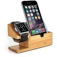 Pure Vie 竹製チャージャーステーション 卓上ホルダー 充電ステーション 多機能の携帯収納型USB充電スタンドグッズ スマホ タブレット スマートフォン/アップルウォッチ/タブレットとラップトップのスタンドなど対応 3 in 1 (竹木)